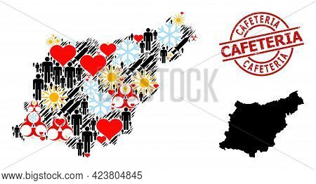 Rubber Cafeteria Stamp Seal, And Sunny Men Syringe Collage Map Of Gipuzkoa Province. Red Round Stamp