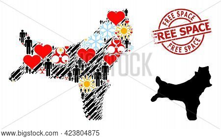 Scratched Free Space Badge, And Heart People Vaccine Collage Map Of Christmas Island. Red Round Stam