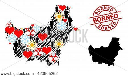Grunge Borneo Stamp Seal, And Heart Man Covid-2019 Treatment Collage Map Of Borneo Island. Red Round