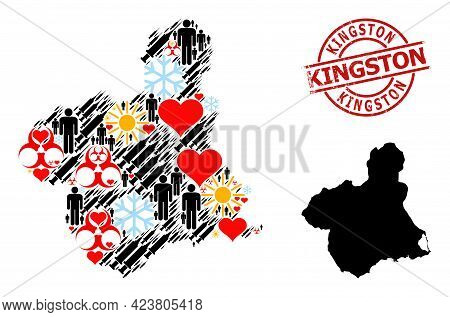 Scratched Kingston Seal, And Heart Customers Inoculation Collage Map Of Murcia Province. Red Round S