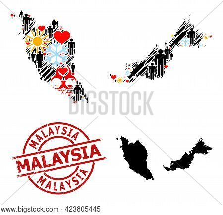 Grunge Malaysia Stamp Seal, And Sunny Humans Inoculation Collage Map Of Malaysia. Red Round Stamp Se