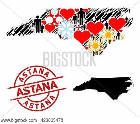 Grunge Astana Badge, And Frost Humans Syringe Mosaic Map Of North Carolina State. Red Round Badge In
