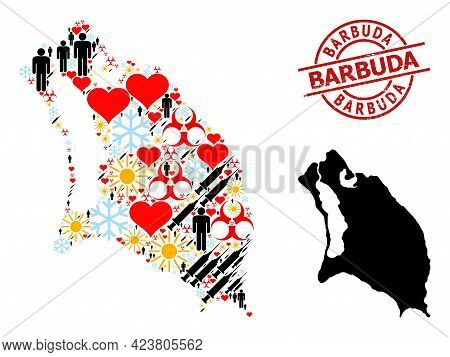 Scratched Barbuda Stamp, And Winter Humans Covid-2019 Treatment Collage Map Of Barbuda Island. Red R