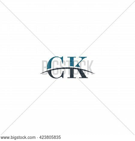 Initial Letter Ck, Overlapping Movement Swoosh Horizon Logo Company Design Inspiration In Blue And G