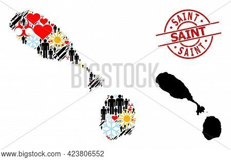 Textured Saint Seal, And Frost Demographics Inoculation Collage Map Of Saint Kitts And Nevis. Red Ro