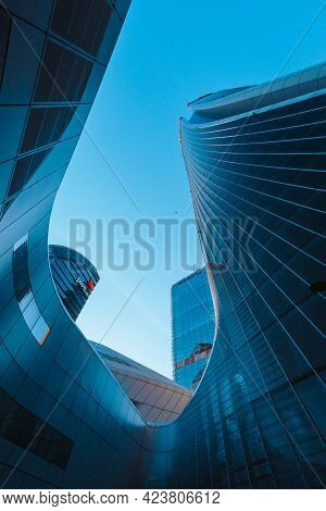 Bottom View Of The Skyscrapers (three Towers) In The Citylife District Of Milan.