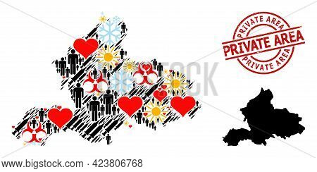 Rubber Private Area Stamp, And Spring People Inoculation Mosaic Map Of Gelderland Province. Red Roun