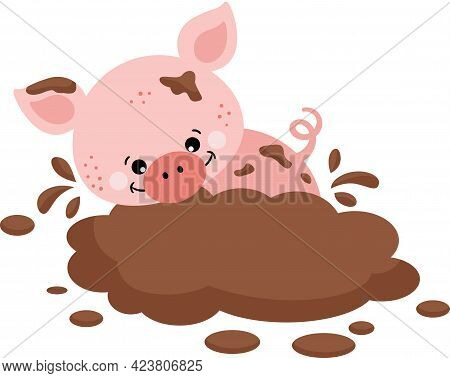Scalable Vectorial Representing A Funny Pig Playing In The Mud, Element For Design, Illustration Iso