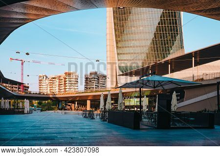 Milan, Italy - May 2021: Square In The Refreshment Area (cafes, Restaurants) Of The Citylife Distric