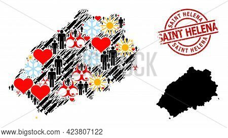 Grunge Saint Helena Stamp Seal, And Spring Humans Infection Treatment Collage Map Of Saint Helena Is