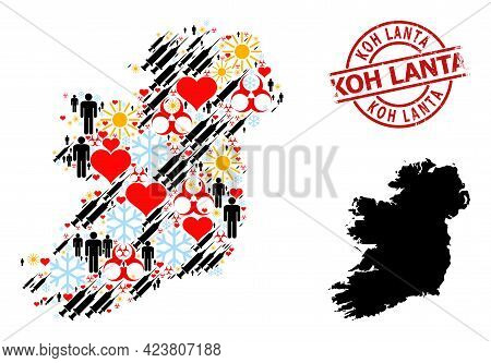 Distress Koh Lanta Seal, And Lovely Man Virus Therapy Mosaic Map Of Ireland Island. Red Round Stamp