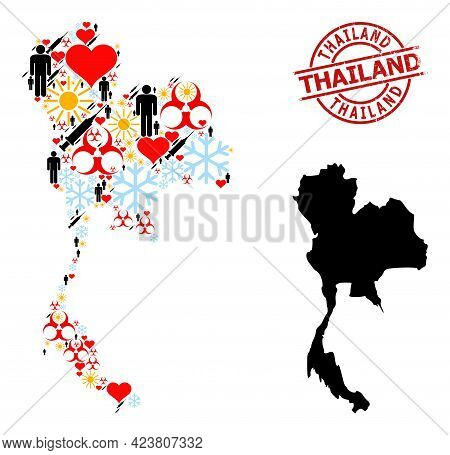 Textured Thailand Stamp, And Spring Man Vaccine Mosaic Map Of Thailand. Red Round Stamp Includes Tha