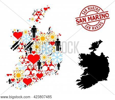 Scratched San Marino Stamp Seal, And Lovely Man Inoculation Collage Map Of Ireland Republic. Red Rou