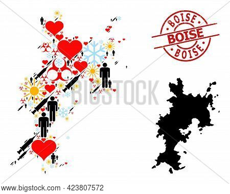 Rubber Boise Stamp, And Sunny Customers Infection Treatment Mosaic Map Of Komodo Island. Red Round S