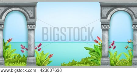 Stone Arch Seamless Background, Vector Ancient Greek Pillars, Exotic Garden Flowers, Plants. Classic
