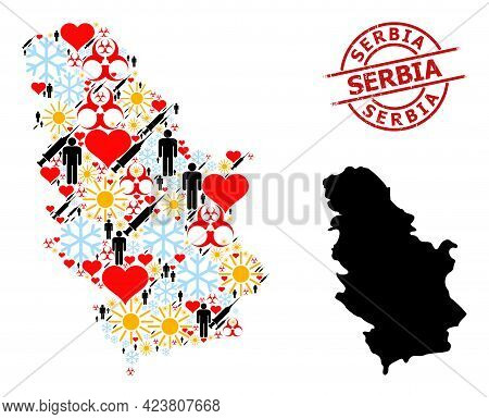 Distress Serbia Stamp Seal, And Winter People Covid-2019 Treatment Collage Map Of Serbia. Red Round