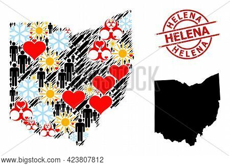 Grunge Helena Stamp Seal, And Sunny Customers Virus Therapy Mosaic Map Of Ohio State. Red Round Stam