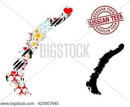 Textured Russian Teen Stamp, And Spring Demographics Syringe Collage Map Of Novaya Zemlya Islands. R