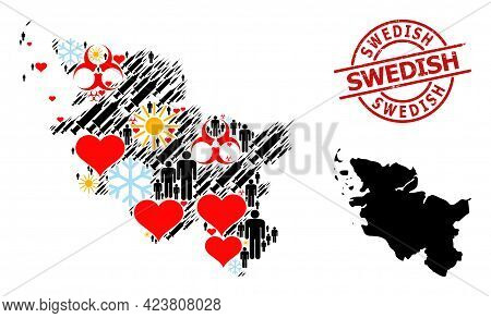 Rubber Swedish Stamp Seal, And Frost Man Vaccine Mosaic Map Of Schleswig-holstein State. Red Round S