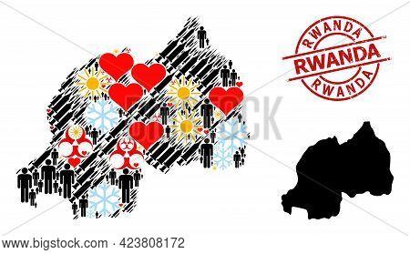 Rubber Rwanda Stamp Seal, And Sunny Demographics Vaccine Mosaic Map Of Rwanda. Red Round Stamp Seal