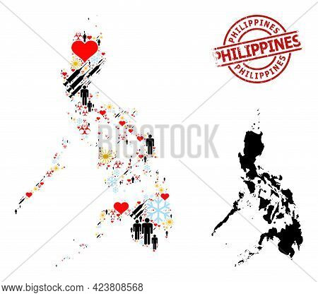 Rubber Philippines Badge, And Heart Demographics Covid-2019 Treatment Collage Map Of Philippines. Re