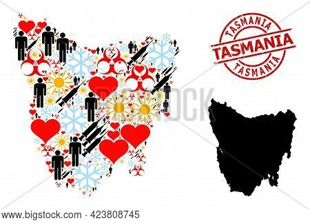 Textured Tasmania Stamp Seal, And Frost People Virus Therapy Mosaic Map Of Tasmania Island. Red Roun