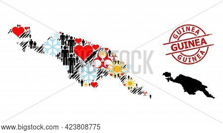 Grunge Guinea Seal, And Heart Demographics Infection Treatment Mosaic Map Of New Guinea Island. Red
