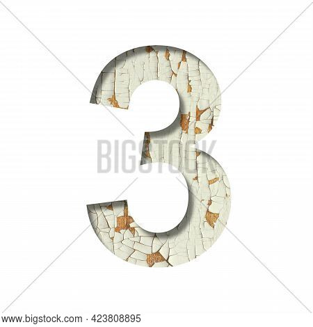 Rustic Font. Digit Three, 3 Cut Out Of Paper On The Background Of Old Rustic Wall With Peeling Paint