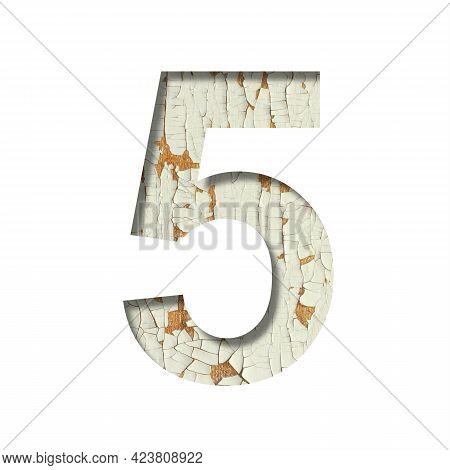 Rustic Font. Digit Five, 5 Cut Out Of Paper On The Background Of Old Rustic Wall With Peeling Paint