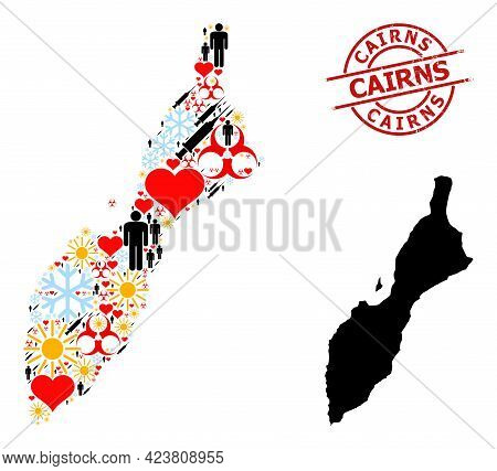 Rubber Cairns Stamp, And Lovely Man Covid-2019 Treatment Mosaic Map Of Masirah Island. Red Round Sta