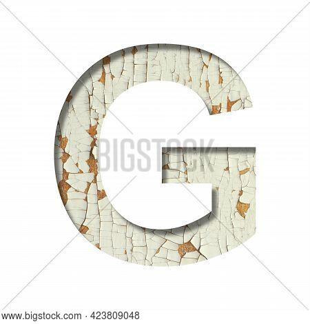 Rustic Font. The Letter G Cut Out Of Paper On The Background Of Old Rustic Wall With Peeling Paint A