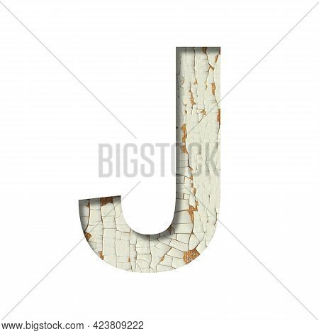 Rustic Font. The Letter J Cut Out Of Paper On The Background Of Old Rustic Wall With Peeling Paint A
