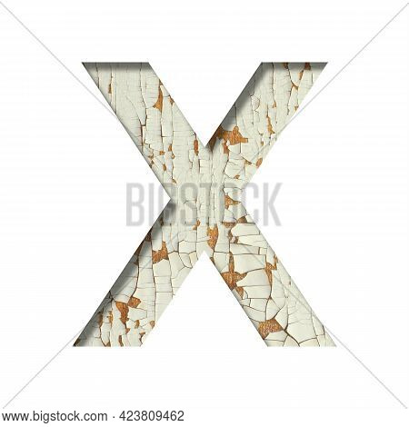Rustic Font. The Letter X Cut Out Of Paper On The Background Of Old Rustic Wall With Peeling Paint A