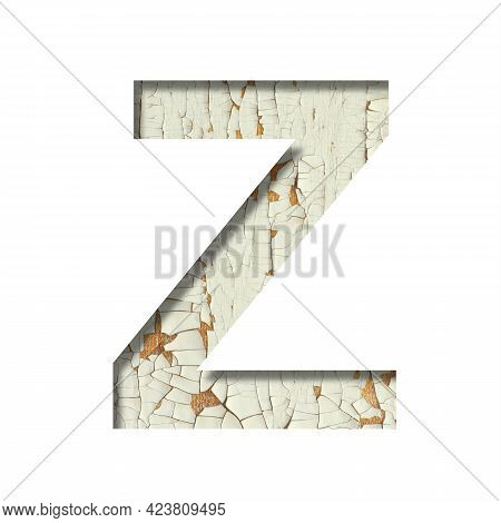 Rustic Font. The Letter Z Cut Out Of Paper On The Background Of Old Rustic Wall With Peeling Paint A