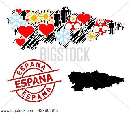 Grunge Espana Stamp Seal, And Heart Patients Covid-2019 Treatment Mosaic Map Of Asturias Province. R