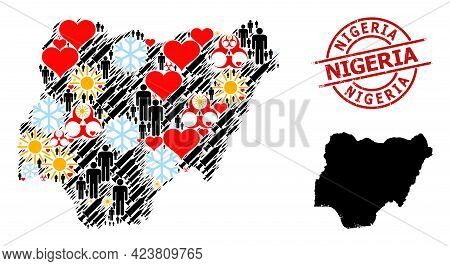 Rubber Nigeria Stamp Seal, And Winter Man Virus Therapy Mosaic Map Of Nigeria. Red Round Badge Inclu
