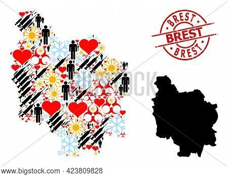 Scratched Brest Stamp, And Heart Customers Syringe Collage Map Of Burgundy Province. Red Round Stamp