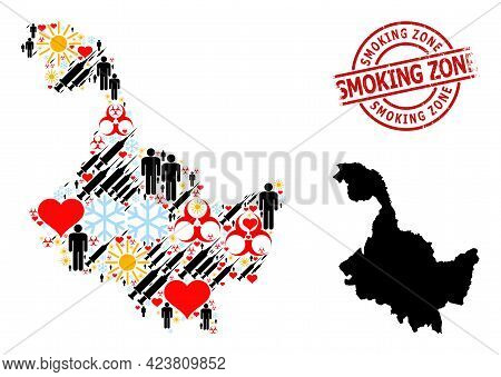 Distress Smoking Zone Stamp Seal, And Sunny Patients Virus Therapy Collage Map Of Heilongjiang Provi