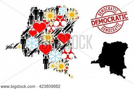 Distress Democratic Stamp Seal, And Spring Man Syringe Collage Map Of Democratic Republic Of The Con