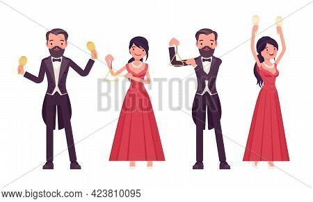 Musician, Elegant Man, Woman Playing Professional Percussion Instruments. Classical Music Event, Con