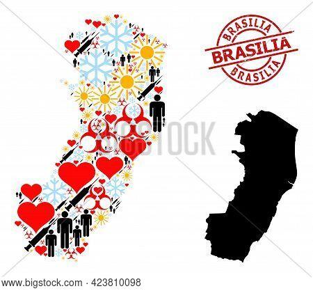 Textured Brasilia Stamp Seal, And Winter Man Vaccine Mosaic Map Of Espirito Santo State. Red Round S
