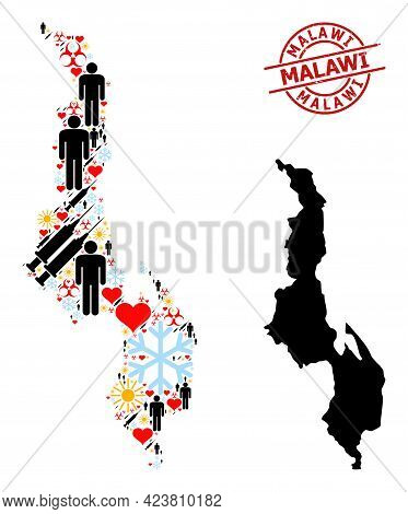 Distress Malawi Stamp Seal, And Winter Man Syringe Collage Map Of Malawi. Red Round Stamp Seal Inclu
