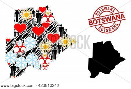 Textured Botswana Stamp Seal, And Winter Customers Infection Treatment Collage Map Of Botswana. Red