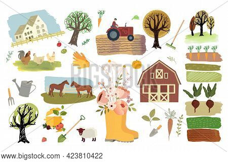 Organic Farming, Agriculture And Gardening. Set Of Vector Illustration Elements Of Organic Food Prod