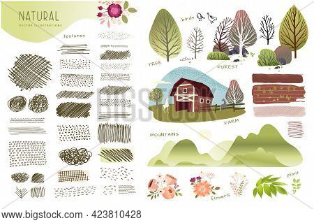 Nature, Farming, Agriculture Set Of Graphic Elements. Set Of Natural Vector Illustrations And Textur