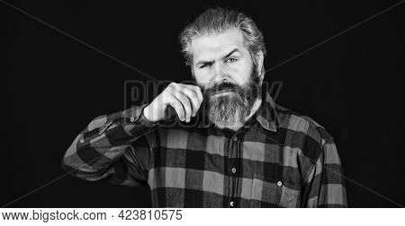 Cool Man. Well Groomed Hipster. Barbershop Concept. Facial Hair Care. Mature Man Bearded Hipster Wit