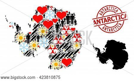 Textured Antarctica Badge, And Winter Men Infection Treatment Collage Map Of Antarctica. Red Round B