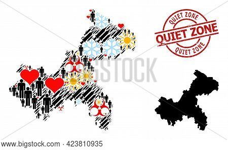 Grunge Quiet Zone Stamp Seal, And Sunny Population Virus Therapy Collage Map Of Chongqing Municipali