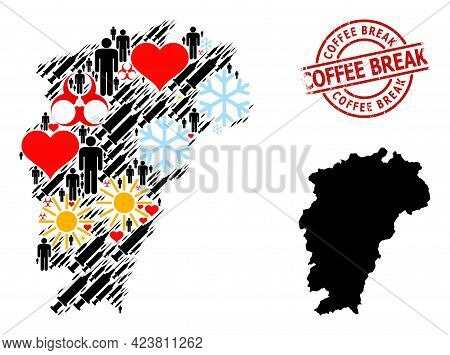 Distress Coffee Break Stamp, And Sunny People Syringe Mosaic Map Of Jiangxi Province. Red Round Stam