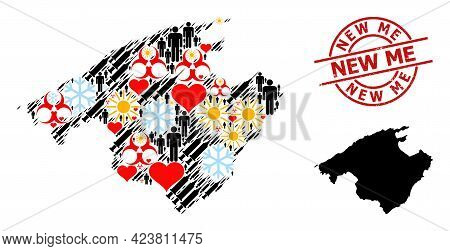 Textured New Me Stamp Seal, And Lovely Demographics Inoculation Mosaic Map Of Majorca. Red Round Sea